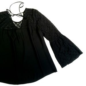 LOFT Black Lace Bell Sleeved Top